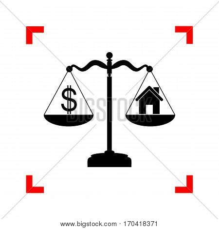 House and dollar symbol on scales. Black icon in focus corners on white background. Isolated.