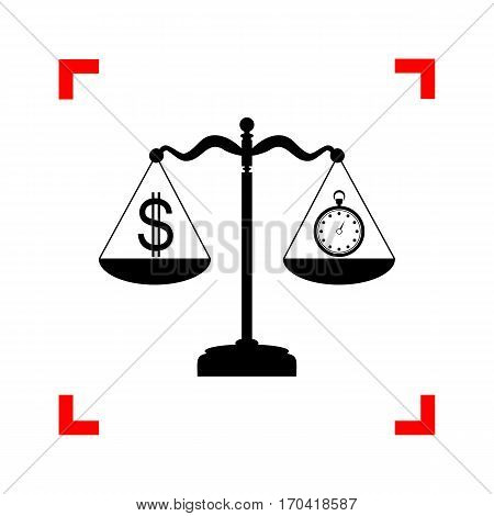 Stopwatch and dollar symbol on scales. Black icon in focus corners on white background. Isolated.