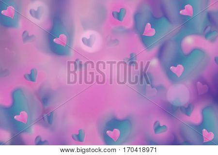 hearts pink-blue on blurred pink-violet background bokeh. Arrangement on Valentine's Day. Bright collage. For design.