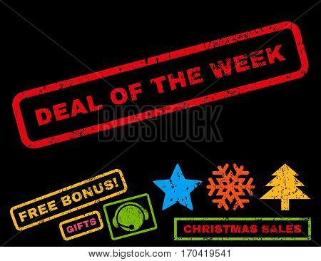 Deal Of The Week text rubber seal stamp watermark with additional bonus christmas symbols. Tag inside rectangular banner with grunge design and dust texture.