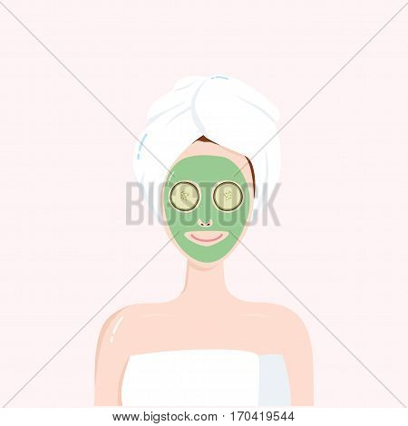 Woman with Beauty Mask on the Face with Towel on Head. Matcha, Avocado, Green Tea, Cucumber Facial Treatment. Vector Illustration Clipart