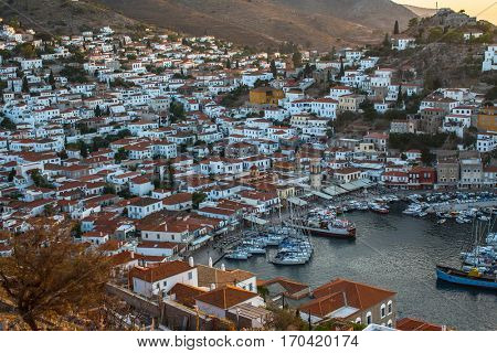 Top view of the houses on Hydra island, Aegean sea, Greece.