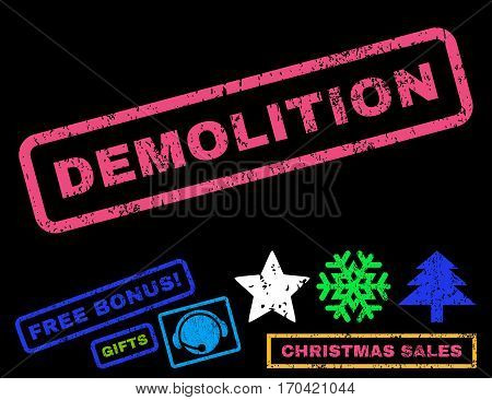 Demolition text rubber seal stamp watermark with additional bonus new year symbols. Caption inside rectangular banner with grunge design and dust texture.