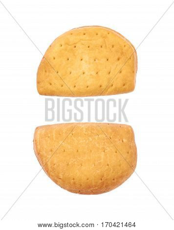 Meat pie isolated over the white background, set of two different foreshortenings