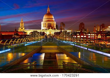London St Paul Pauls cathedral from Millennium bridge on Thames UK