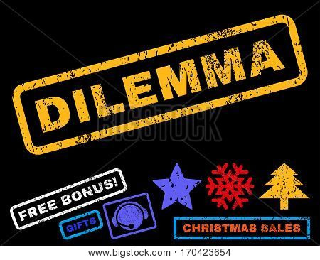 Dilemma text rubber seal stamp watermark with additional bonus christmas symbols. Caption inside rectangular shape with grunge design and unclean texture.