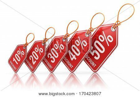 Red price tag labels with percent sale off - 3D illustration