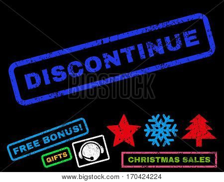 Discontinue text rubber seal stamp watermark with bonus new year symbols. Tag inside rectangular shape with grunge design and scratched texture.