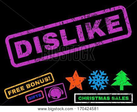 Dislike text rubber seal stamp watermark with bonus christmas symbols. Tag inside rectangular banner with grunge design and dirty texture.