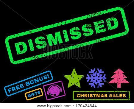 Dismissed text rubber seal stamp watermark with bonus christmas symbols. Tag inside rectangular banner with grunge design and scratched texture.