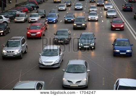 Cars On Evening Road