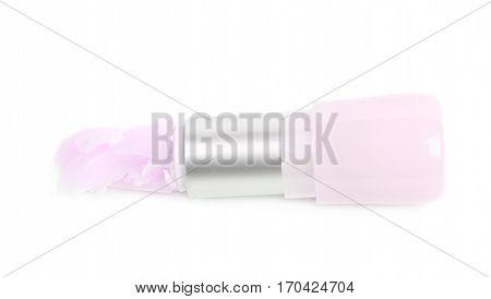 Crushed vaseline lip balm stick pomade isolated over the white background