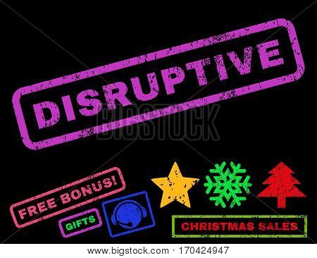 Disruptive text rubber seal stamp watermark with additional bonus christmas symbols. Tag inside rectangular banner with grunge design and dust texture.