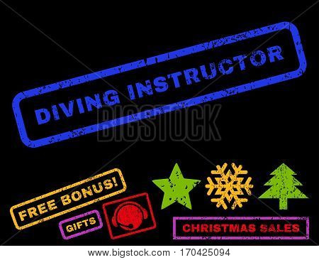 Diving Instructor text rubber seal stamp watermark with additional bonus christmas symbols. Tag inside rectangular shape with grunge design and dirty texture.