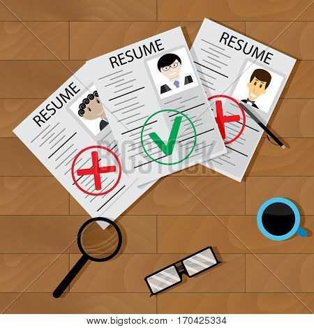 Recruitment concept vector. Interview and hiring employee business research illustration