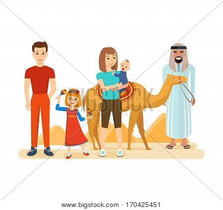 Family travel to Arab emirates concept. Familiarity with the traditions, culture, sights, joint vacation. Vector illustration isolated on white background. Can be used in banner, mobile app, design.