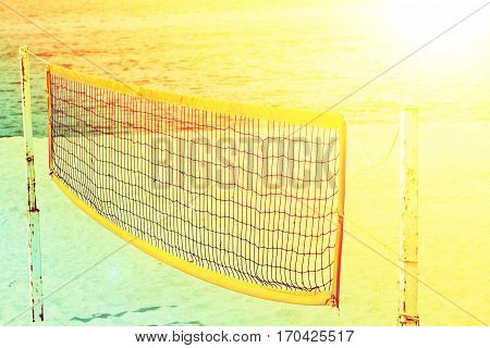 Close up beach volley net on the beach