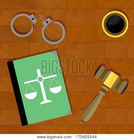 Justice is top view. Handcuffs and book law and legal illustration vector