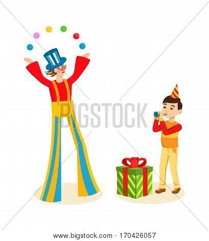 Clown animator entertains the audience on a cheerful celebration event, boy with cap on his head, in a good mood is happy gift and plays on a pipe. Vector illustration isolated on white background.