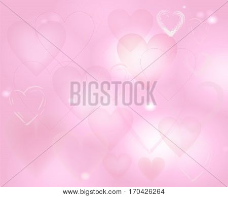 Pale pink background with hearts and blurred pattern. the Theme of love and Valentines day. Light backdrop