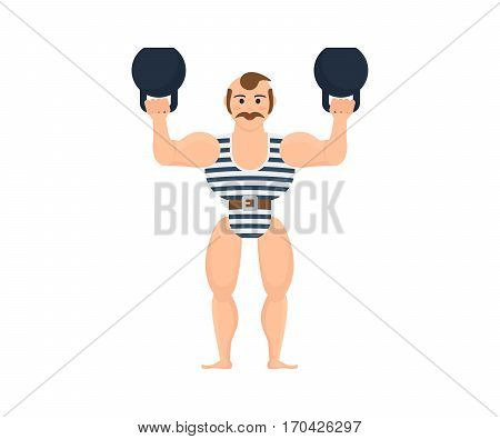 Circus concept. Male athlete, tighten the belt in a striped suit, entertains and amuses the audience, showing the strength exercises with dumbbells. Vector illustration isolated on white background.