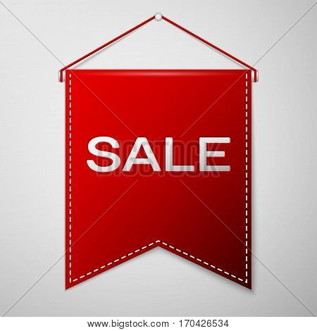 Red pennant with inscription SALE over a grey background. Sale concept for shops store market, web and other commerce. Vector illustration.
