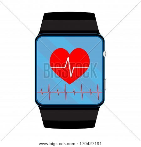 Pulsometer smart watch. Pulse and heartbeat on smartwatch vector illustration