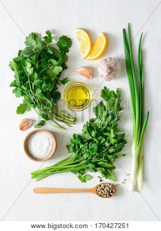 Chimichurri sauce basic ingredients view from above flat lay