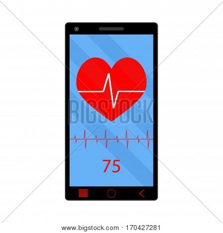 App heart rate monitor on phone. Technology smartphone health gadget vector illustration