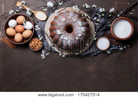 Easter bundt cake recipe concept space for a text view from above