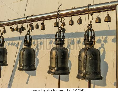 Praying bells in the Wat Saket Temple. Buddhist Temple Wat Saket or Golden mount, Bangkok, Thailand