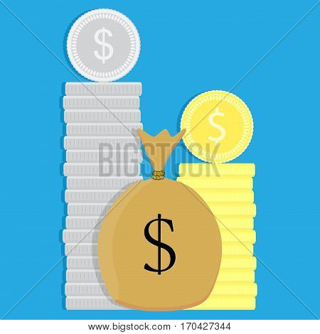Money coin and sack. Bag with money finance wealth and cash dollar vector illustration
