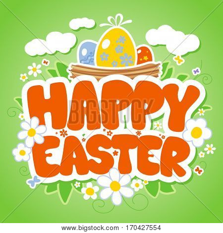 Happy Easter card template, basket with colored eggs and flowers, rasterized version