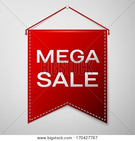 Red pennant with inscription MEGA SALE over a grey background. Sale concept for shops store market, web and other commerce. Vector illustration.