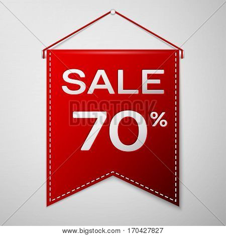 Red pennant with inscription sale seventy percent Discounts over a grey background. Sale concept for shops store market, web and other commerce. Vector illustration.