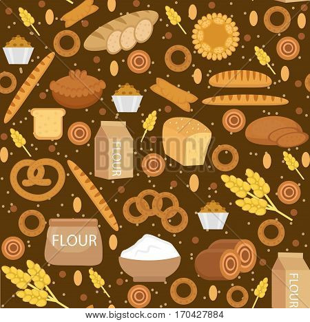 Bakery products seamless pattern with bread, loaf, buns. Vector illustration