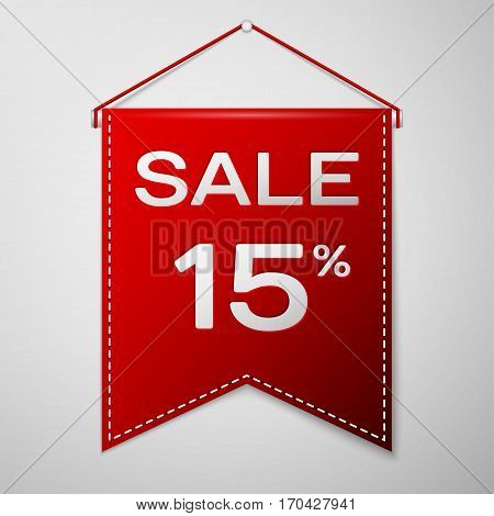 Red pennant with inscription sale fifteen percent Discounts over a grey background. Sale concept for shops store market, web and other commerce. Vector illustration.