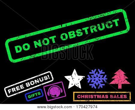 Do Not Obstruct text rubber seal stamp watermark with additional bonus christmas symbols. Caption inside rectangular shape with grunge design and unclean texture.