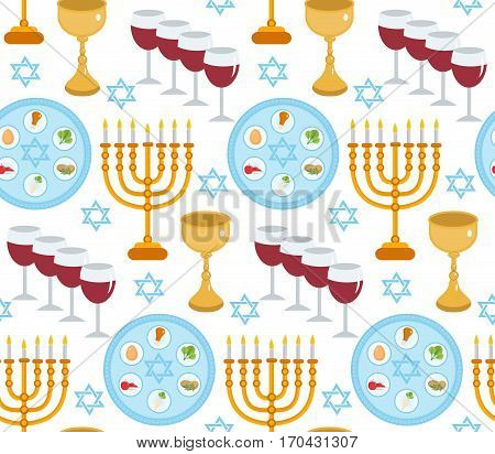 Passover seamless pattern. Pesach endless background, texture. Jewish holiday backdrop. Vector illustration