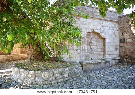 BELGRADE, SERBIA, JULY 4, 2014: Exterior shot of fountain of Sokollu Mehmet Pasa (Mehmed Pasha Sokolovic) from 1578  inside Belgrade Castle complex, Serbia.