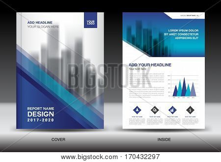 Annual report brochure flyer template, Blue cover design, business flyer template, book, magazine ads, vector