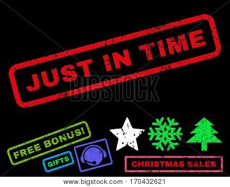 Just In Time text rubber seal stamp watermark with additional bonus new year symbols. Caption inside rectangular banner with grunge design and dust texture.