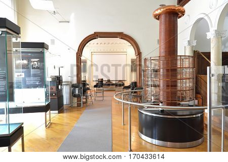BELGRADE, SERBIA, JULY 3, 2014: Real working Tesla coil inside the Nikola Tesla Museum, Belgrade, Serbia.