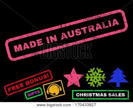 Made In Australia text rubber seal stamp watermark with additional bonus new year symbols. Tag inside rectangular banner with grunge design and unclean texture.