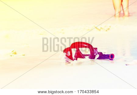 Mask snorkel  on the beach at raya island