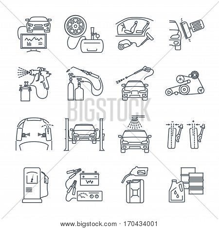 set of thin line icons servicing maintenance repair of car and auto