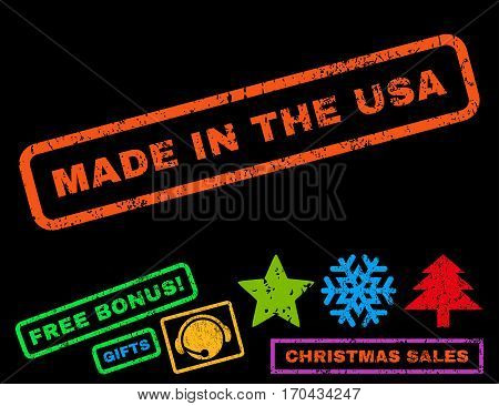 Made In The USA text rubber seal stamp watermark with additional bonus new year symbols. Caption inside rectangular shape with grunge design and dirty texture.