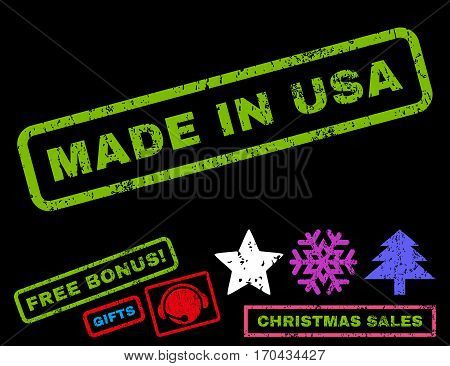 Made In USA text rubber seal stamp watermark with bonus christmas symbols. Caption inside rectangular banner with grunge design and dust texture.