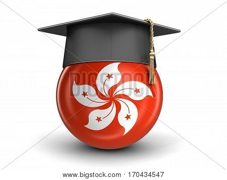 3D Illustration. Graduation cap and Hong Kong flag. Image with clipping path