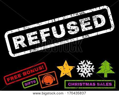 Refused text rubber seal stamp watermark with additional bonus new year symbols. Tag inside rectangular banner with grunge design and dust texture.